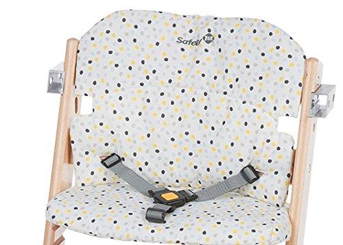 Safety 1st Timba Hochstuhl-Sitzkissen, schnelle und einfache Befestigung, waschbar, bietet dem Kind noch mehr Komfort, grau gepunktet