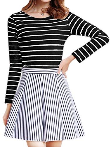 sourcingmap Femme Manches Longues Slim Fit Rayures T-Shirt Noir