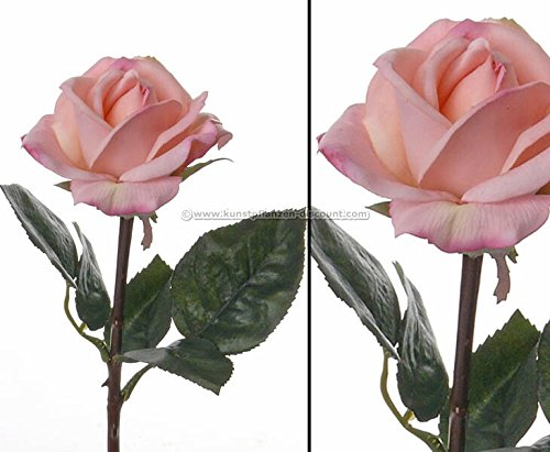Rosen Kunstblume real tocuh, mit heller rosa farbiger Blüte, 35cm - Kunstpflanze künstliche Blumen Kunstblumen Blumensträuße künstlich, Seidenblumen oder Blumen aus Plastik Kunststoff </p> --> großes Kunstblumen Sortiment