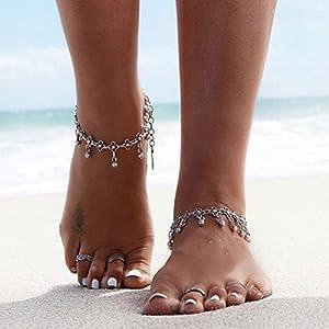 Aukmla Fußkettchen / Armband, toll für den Strand, Tibetisches Design mit Margeriten