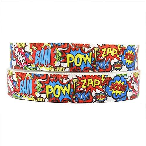 2m x 25mm New Multi Farbe Pop Art ZAP POW BANG Ripsband für Geburtstagstorten, Geschenkpapier Band Craft