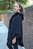 Ravi Famous - Damen Frauen Poncho Cape Luxus Promi Towe Dick Kunstfell Rand Kapuzen Schal - Einheitsgröße, Schwarz