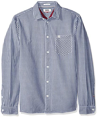 Tommy jeans uomo essential gingham check camicia maniche lunghe  blu (black iris 002) large
