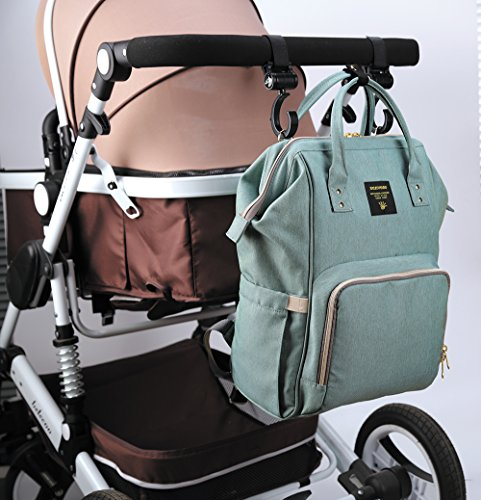 Sunveno Waterproof Multifunction Mummy Backpack Large Capacity Baby Diaper Nappy Changing Bag with Changing Mat (Green)
