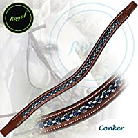 Royal Small Glittery & Fancy Blue U-Shaped Crystal Brow Band.
