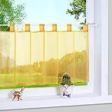 1er Pack Voile Gelb Scheibengardine mit Schlaufen Küchen Vorhang, H/B: 45/90cm