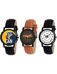Xforia Boys Watch Black & Brown Leather Stylish Analog Watches For Men Pack Of 3