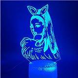 Lampe Illusion Optique Veilleuse 3d Lampe LED Chanteuse Ariana Grande Affiche Chat Fille Carck Interrupteur Tactile