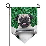 SENNSEE Hausflagge Hund Mops mit Hantel, Gartenflagge, 30,5 x 45,7 cm, doppelseitig, dekorative...