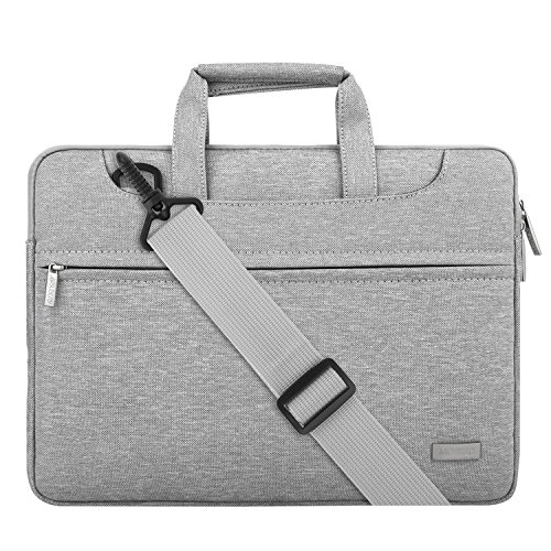 MOSISO Laptop Umhängetasche Kompatibel 13-13,3 Zoll MacBook Pro Retina/MacBook Air/Surface Laptop/Surface Book, Polyester Aktentasche Messenger Schultertasche mit Rückengurt Trolly Case, Hellgrau