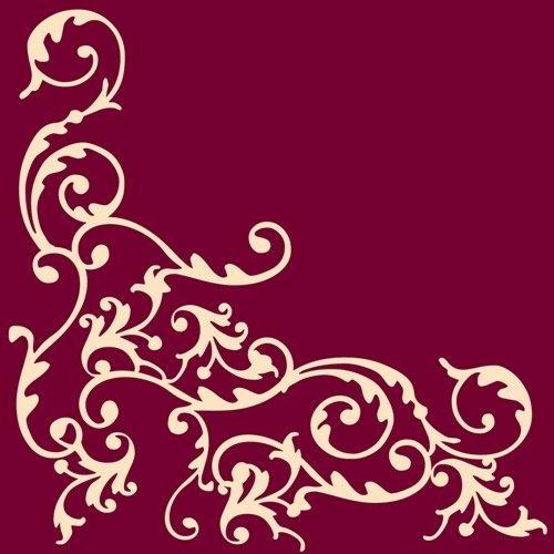 50 Servietten, stoffähnlich, Airlaid 1/4-Falz 40 cm x 40 cm Ornaments Bordeaux Creme für Hochzeit Verlobung besondere Anlässe