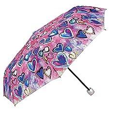 Idea Regalo - Ombrello Pieghevole Donna - Ombrello Mini colorato stampa cuori - Leggero e Antivento - Diametro 97 - Perletti - Rosa