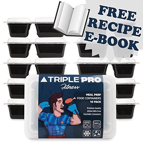 Triple Pro Fitness Boîtes alimentaires/pour préparations de repas sans BPA – Lot de 10 boîtes avec 2 compartiments chacune avec couvercles hermétiques - Compatible micro-onde, lave-vaisselle et congélateur - Parfait pour contrôler ses portions de repas – 850 ml-
