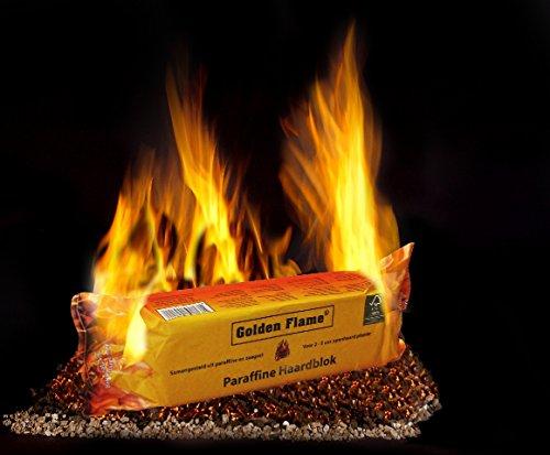 Preisvergleich Produktbild ORA-TEC Golden Flame Kaminfeuer Dauerbrenner für 2-3 Stunden Kaminfeuerscheit, Brennstoff für Kamin, Holz- und Kachelofen