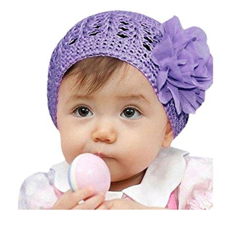 LuckyGirls Wolle Mütze Strick Blume Kleinkinder Baby Mädchen Haarband Stirnband Headwear Hut (Lila) (Kinder Baseball-buch)