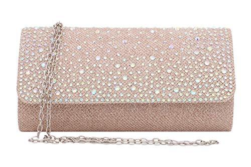 Gabrine Damen Abendtasche Schultertasche Handtasche Clutch Geldbörse für Hochzeit Party, (Rhinestone Champagne), Einheitsgröße