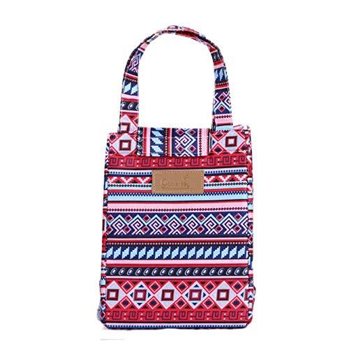 djryj modische Thermo-Kühltasche, gestreift, für Picknick, als Dekoration zu Hause - Wine Red Nepal