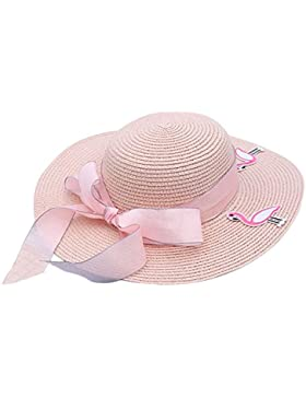 Kanggest Sombrero de Paja del Verano de los Niños del Bowknot del Flamenco Sombrero de Ala Ancha Sol para los...