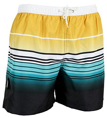 Luvanni Herren Badeshorts Beachshorts Boardshorts Badehose Schwimmhose Männer gestreift Streifen gelb schwarz blau Weiss Farbe Bunt XL