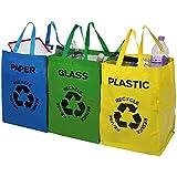 UNIBOS Multicolor resistente reutilizable reciclado bolsas pack de 3Cada bolsa con asas y velcro–separar su hogar residuos y reciclaje con etiqueta y bolsas de colores para vidrio, papel y plástico