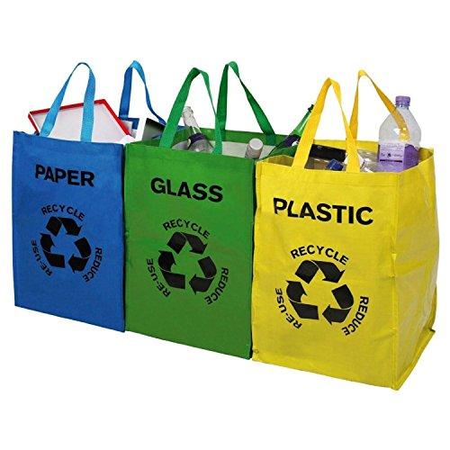 UNIBOS Mehrfarbig Heavy Duty wiederverwendbar Recycling Taschen 3Stück pro Tasche mit Griffen und Klettverschluss Aufsätze–Separate Ihr Haushalt Abfall und Recycling mit beschriftet und Farbe abgestimmtes Staubbeutel für Glas, Papier und Kunststoff