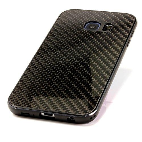 Alu Rahmen Echt Carbon Exklusiv Samsung Galaxy S6 Edge Handy Hülle Cover Tasche Case ScorpioCover schwarz / schwarz