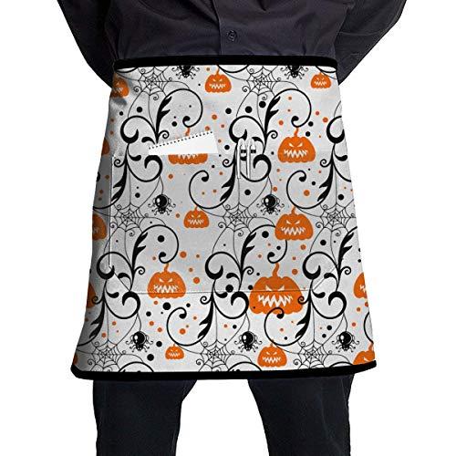 lbare Latzschürze mit Tasche, Einstellbare Latzschürze mit Tasche for Women, Men, Chef, Kitchen, Home, Restaurant, Cafe, Cooking, Baking, Gardening (Happy Halloween Party Pumpkin) ()