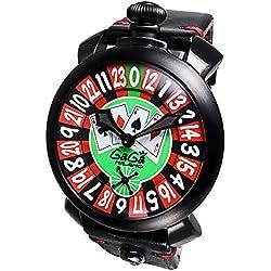 GaGa Milano Men's Las Vegas Roulette 48mm Black Leather Band IP Steel Case Mechanical Watch 5012.LV.01S