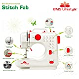 BMS Lifestyle 12 in1 Multi-Function Portable Electric Sewing Machine With Demo CD (White , 1 Year Warranty)