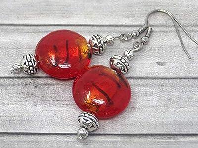 Boucles d'oreilles Venezia en acier inoxydable et perles plates en verre de Murano rouge