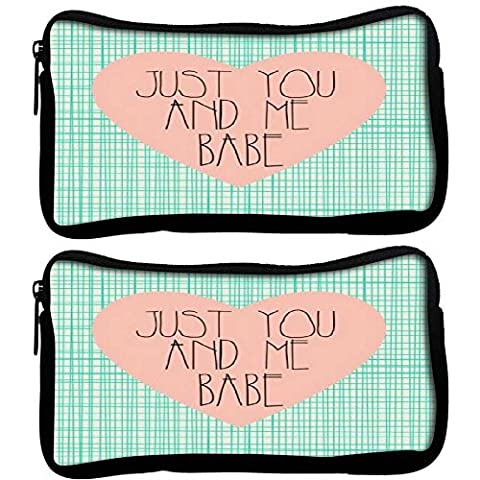 Snoogg Lot de 2 Just You and Me Babe Poly Canvas Student Pen Trousse Porte-monnaie Pochette Sac de maquillage