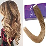 LaaVoo 20 Zoll/50cm Tape on Extensions Echthaar mit Band Skin Weft Tressen Individuell Tape in Extension Hellbraun Balayage Dunkelblond 50GR/20PC #8/14