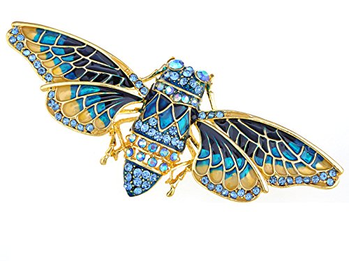 Alilang Goldton Sapphire Blue Farbige Strass Moth ()