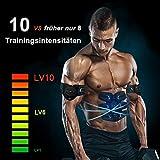 sakobs Muskelstimulator Bauchmuskeltrainer 2018 Muskelstimulation EMS Trainingsgerät mit 60 Stunden Akkulaufzeit/10 Intensitäten Muskeltraining zur Fettverbrennung und Muskelaufbau - 3