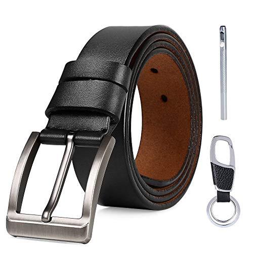 flintronic® Herren Gürtel, Leder Dornschließe Business Gürtel Lederimitat 125cm für Männer, Schwarz und Braun (inkl Schlüsselbund)