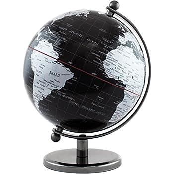 brubaker globe terrestre en acier inoxydable design noir jeux et jouets. Black Bedroom Furniture Sets. Home Design Ideas