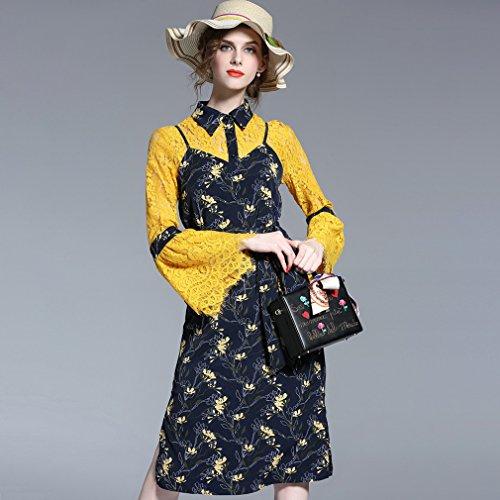 Honghu Dentelle Florale Robe Femme Jaune