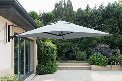 Norfolk Leisure 2m Square Wall Mounted Cantilever Parasol Aluminium Frame 220g Polyester Canopy and 14 strong 14mm Ribs