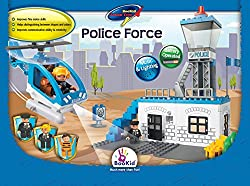 BooKid Toys Building Blocks, Police Force Battery Operated Police Helicopter with Lights and Sound