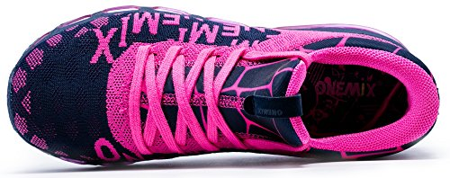 onemix Sportschuhe Laufschuhe Air Casual Sport Fitnessschuhe Trainers Schuhe Running Indoor Herren Damen Blau/Rosa
