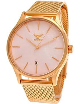 Elegante NY London Designer Damen-Uhr Herren-Uhr Milanaise Armband-Uhr Unisex Analog Klassisch Quarz-Uhr mit Datumsanzeige...