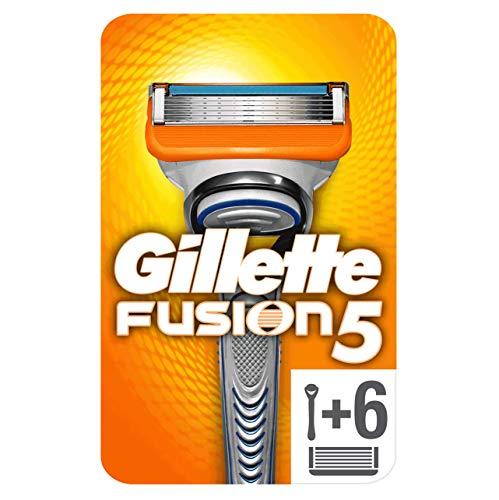 Gillette Fusion5 Rasierer, mit 6 Rasierklingen, Briefkastenfähige Verpackung