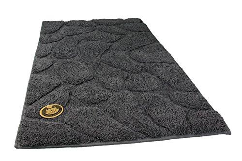 Gözze Badteppich, Mikrofaser Hochflorteppich, 50 x 70 cm, Steine, Anthrazit, 1032-91-050070