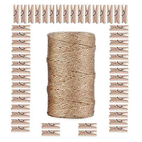 Giveet 100 Meters Natural Jute Twine and 100 PCS Mini
