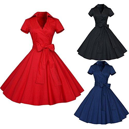7ffece264669f1 IZHH Damen Abendkleider Damen Vintage Print Hepburn Style Taillenschleife  Gürtel Kleid 50S 60S Swing.