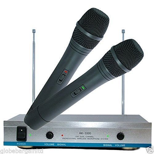 GBL® AK-3300 Premium Qualität neue Wireless Mikrofonsystem Dual Handheld 2 x Mikrofon Empfänger (Neue Wireless-mikrofon)
