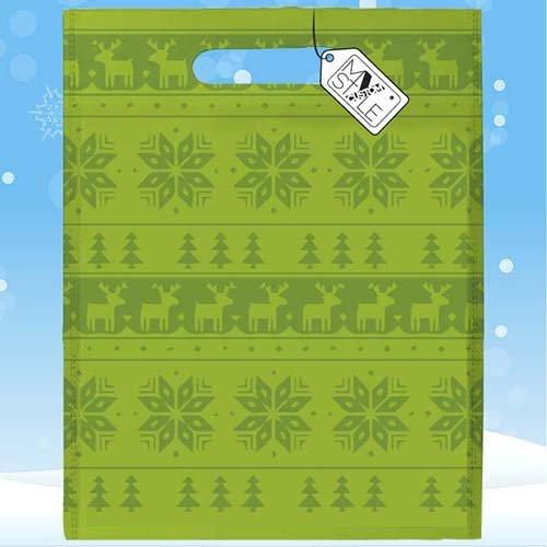 My Custom Style® Confezione risparmio da 25 Shoppers sublima in polietilene modello Natale - Unicorno Natalizio . Shopper con stampa sublimatica full print fronte/retro, formato 33x41cm. Un tocco d Texture Natalizia