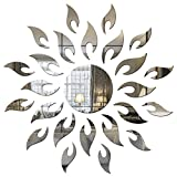 #8: Dakshita Sun with extra flame Silver (pack of 25) 3D Acrylic Sticker, 3D Mirror, 3D Acrylic Wall sticker, 3D Acrylic stickers for wall, 3D Acrylic Mirror stickers for living room, bedroom, kids room, 3D Acrylic mural for home & offices décor