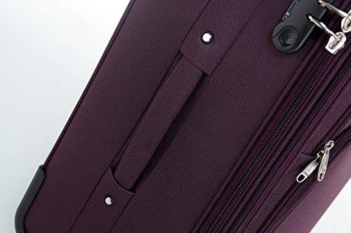 51sYQ8ibsaL - Beibye 4ruedas maleta de viaje 8005plástico maletín equipaje Maleta Juego de L XL de m en 5colores (Lila, Juego)