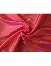 Plain Cloth For Sarees 6.50 Meter Cut Two Tone Cloth Paper Silk Yellowish Pink